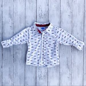 Bon Bebe Mustache Sunglasses Button Down Top 12M